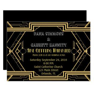 Gatsby Gold Party Wedding Suite Ceremony Party Invitations