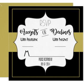 Gatsby Gold Wedding Suite Reception Party RSVP Invitations