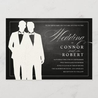 Gay Chalkboard Wedding Two Grooms Silhouettes