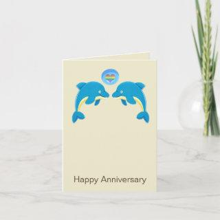 Gay Dolphins And Love Heart Bubble Anniversary Card