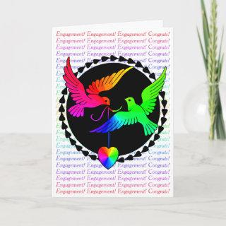 Gay Engagement Congratulations Rainbow Love Doves Card