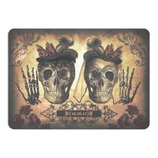 Gay Lesbian Female Couple Skulls Gothic Wedding Invitations
