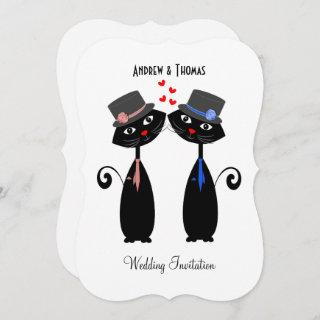 Gay Marriage Cool Cat Grooms Wedding Invitation