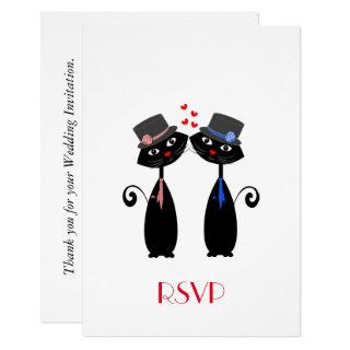 Gay Marriage Cool Cat Grooms Wedding RSVP Invitation