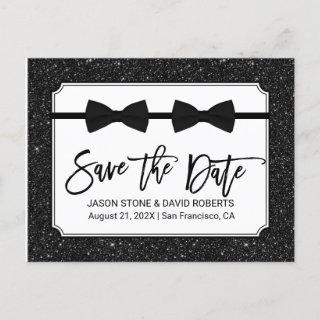 Gay Wedding Bow Ties Black Glitter Save the Date Announcement Postcard