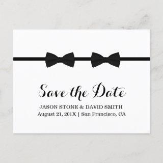 Gay Wedding Bow Ties Minimalist Save the Date Announcement Postcard