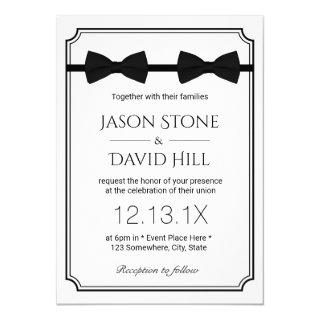 Gay Wedding Double Bow Ties Classic Framed Invitations
