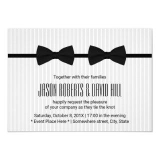 Gay Wedding Double Bow Ties Classic Invitation