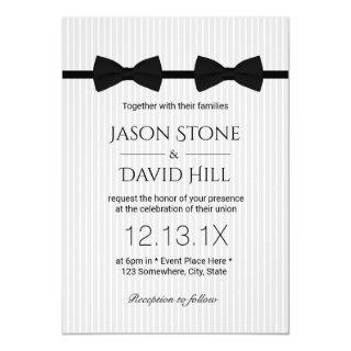 Gay Wedding Double Bow Ties Classic Wedding Invitations