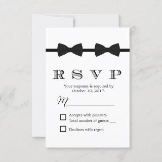 Gay Wedding Double Bow Ties Minimalist RSVP