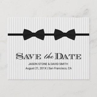 Gay Wedding Double Bow Ties Save the Date Announcement Postcard