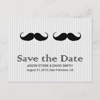 Gay Wedding Double Mustache Save the Date Announcement Postcard