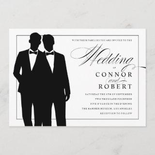 Gay Wedding Invitation Two Grooms Silhouettes