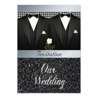 Gay Wedding Invitation with Tuxedo and White Rose