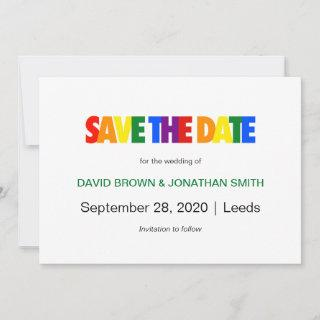 Gay Wedding Save the Date Rainbow Flag Colors