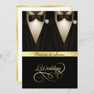 Gay Wedding Tuxedos White Roses Gold Foil Invitations