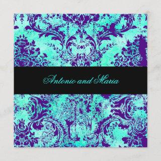 GC |  Vintage Turquoise & Purple Damask Invitations