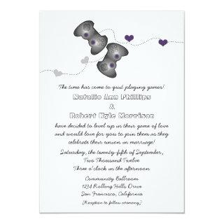 Geeky Gamers Wedding Invitations (Silver/Purple)