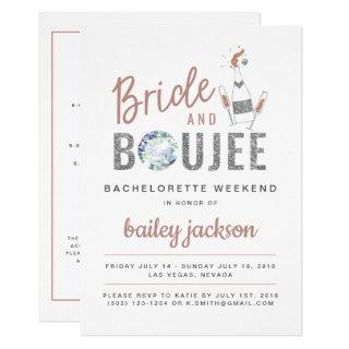 Genna - Rose Gold Bride and Boujee Champagne Invitations