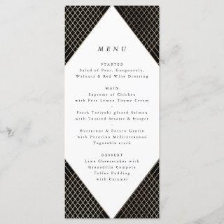 Geometric Black Gold Gatsby Tall Wedding Menu