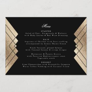 Geometric Black Gold Gatsby Wedding Menu
