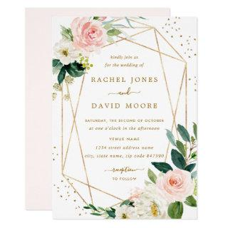 Geometric Blush Gold Floral Wedding Invitation