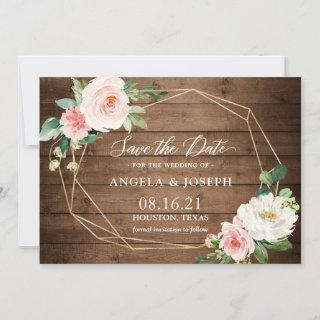 Geometric Blush Pink Floral Rustic Wood Wedding Save The Date