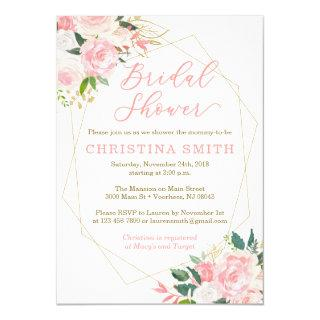 Geometric Bridal Shower Invitations Pink and Gold