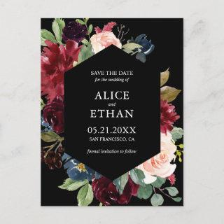 Geometric Burgundy And Navy Blue Save The Date Announcement Postcard