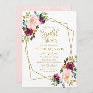 Geometric Burgundy Blush Floral Bridal Shower Invitation