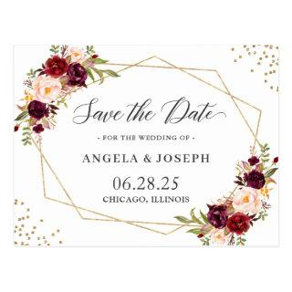 Geometric Burgundy Red Floral Save the Date Postcard
