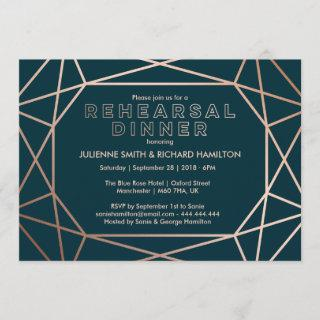 Geometric Diamond Sophisticated Rehearsal Dinner Invitation