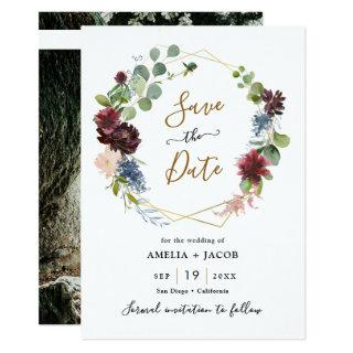 Geometric Frame Burgundy Navy Floral Save the Date Invitations