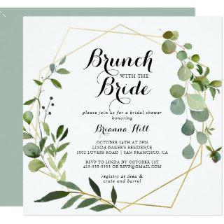 Geometric Gold Brunch with the Bride Shower Invitations