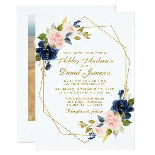 Geometric Gold Floral Blue Pink Photo Wedding Invitation