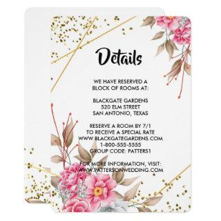 Geometric Gold Frame Pink Floral Enclosure Invitations
