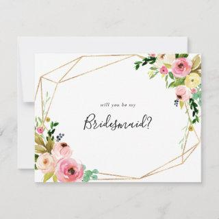 Geometric Gold Tropical Fall Bridesmaid Proposal Note Card