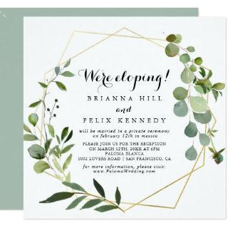 Geometric Gold Tropical Green Elopement Reception Invitations