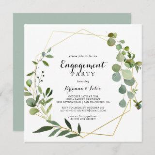 Geometric Gold Tropical Green Engagement Party Invitation
