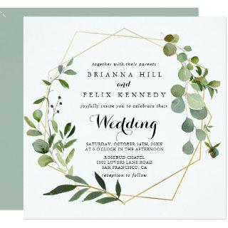 Geometric Gold Tropical Green Front & Back Wedding Invitations