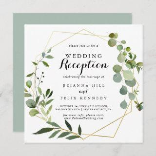 Geometric Gold Tropical Green Wedding Reception Invitations