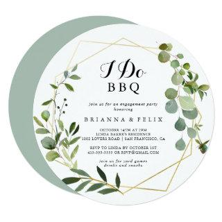 Geometric Gold Tropical I Do BBQ Engagement Party Invitation
