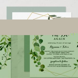 Geometric Gold Tropical We Do Again Vow Renewal Invitations
