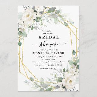 Geometric gold & white floral bridal shower invitation