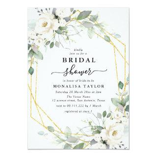 Geometric gold & white floral bridal shower Invitations