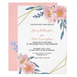 Geometric Golden Frame Pink Florals Modern Wedding Invitation