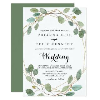 Geometric Greenery Eucalyptus Front & Back Wedding Invitations