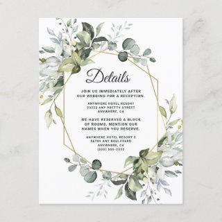 Geometric Greenery Modern Gold Succulent Wedding Enclosure Card