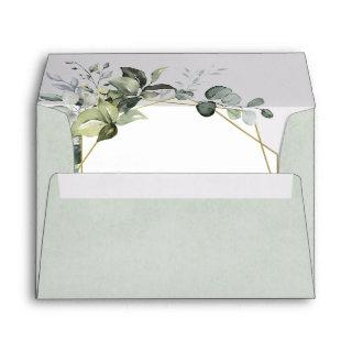 Geometric Greenery Modern Gold Succulent Wedding Envelope