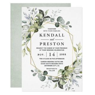 Geometric Greenery Modern Gold Succulent Wedding Invitations